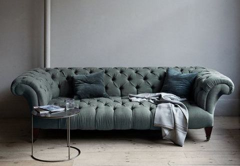 samtig grünes Chesterfield-Sofa - homesofa